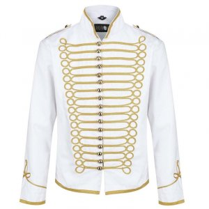 White hussar jacket parade jacket mens military jacket army drummer musician jacket