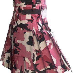 Men Pink Camouflage Cotton Utility Kilt, Fashion Sport Utility Kilt
