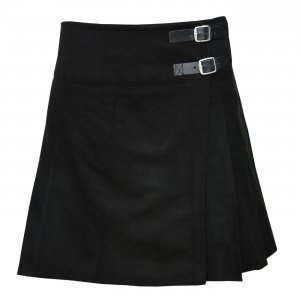 "Ladies Knee Length Black Kilt Skirt 20"" Length Tartan Pleated"