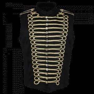 Black/Gold Men's Military Hussar Drummer Vest Waistcoat