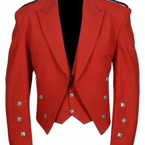 Prince Charlie Jacket With Waistcoat in Red