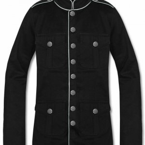 Men's Military Jacket Black White Goth Steampunk Army Coat
