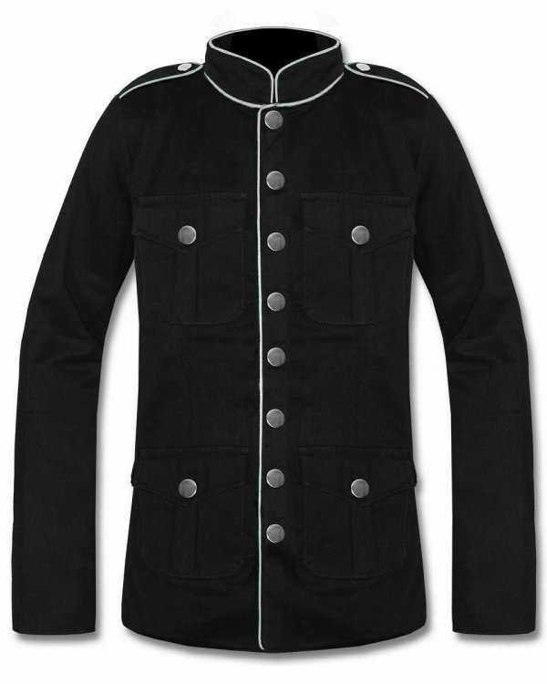 Men's Military Jacket Black White Goth Steampunk Army Coat