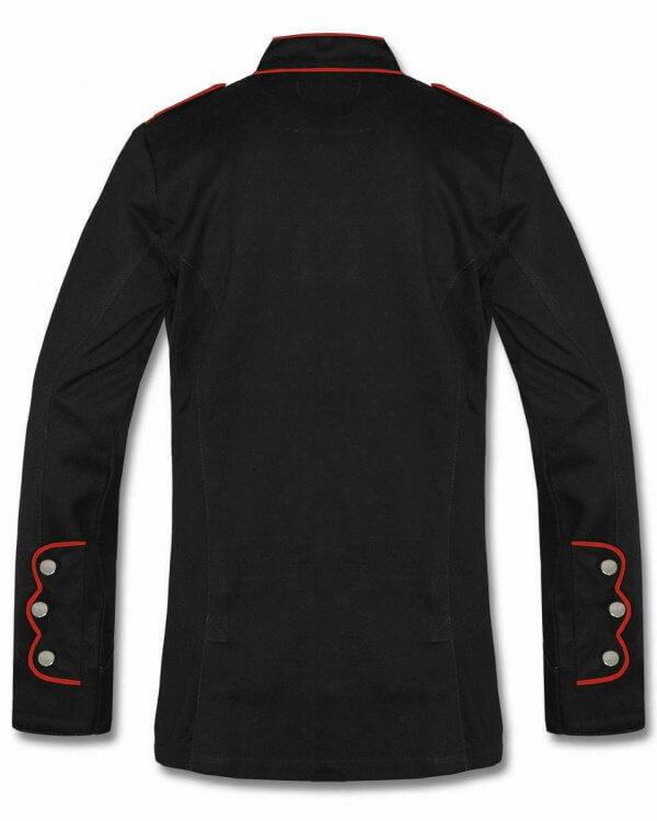 Men's Military Jacket Black Red Goth Steampunk Army Coat
