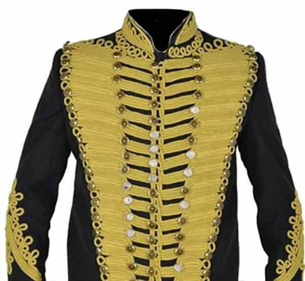Black Military Napoleon Jacket Golden Embroidery expedited shipping