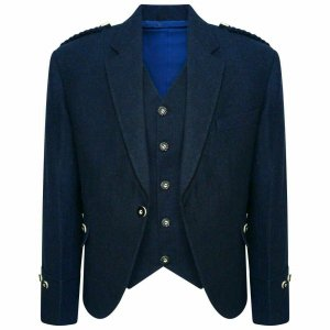 Tweed Crail Highland Blue Kilt Jacket and Waistcoat Scottish