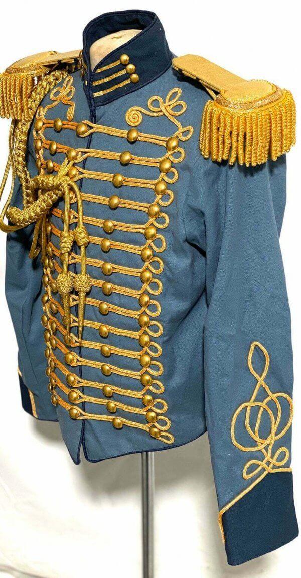 New GENERAL Ceremonial Gold Braiding Hussar Jacket Fringes Gold Epaulettes