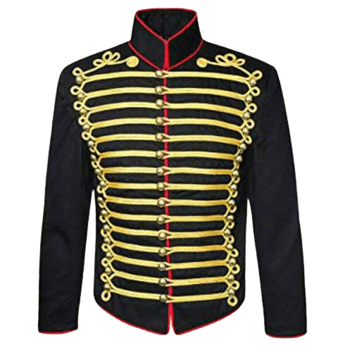 Mens black hussar jacket front gold braid Jacket fast shipping