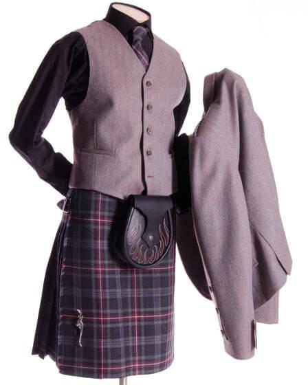 Crail Jacket and Vest in Rust Herringbone fabric