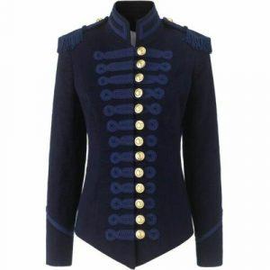 Women Blue Military Blazer Jacket
