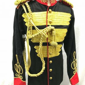 Steampunk Men's Military Jacket Gold Bullion Ribbons Hussar
