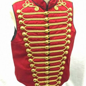 Men Steampunk Military Jacket Black with Gold Braiding Hussar