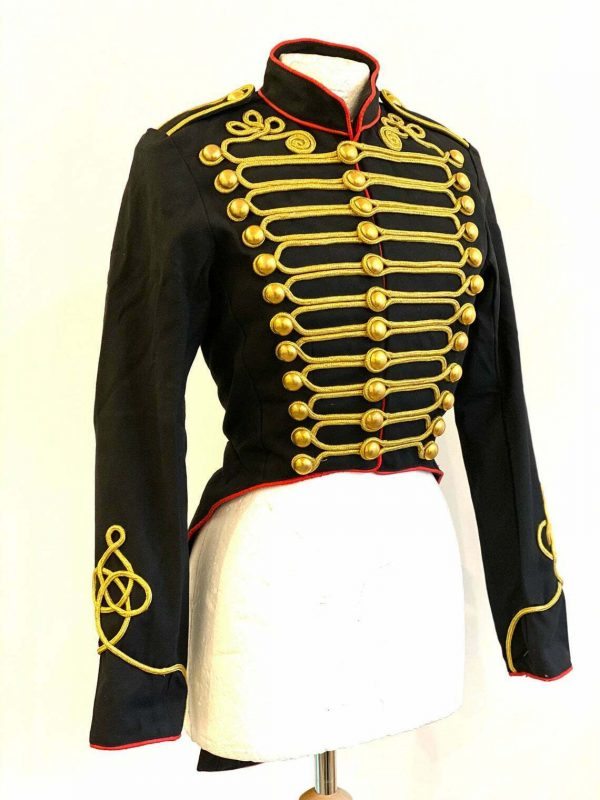 Women's Ring Master Hussar Officers Black Red Tail Coat