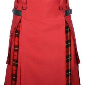 Men's Red Cotton Utility Hybrid Kilt - Wallace Tartan Under Pleats