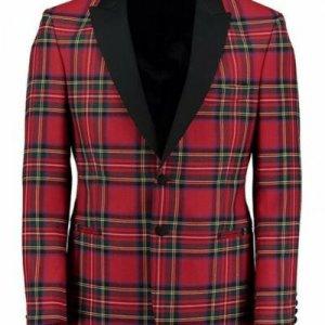 Scottish Men's Kilt Jacket - Handmade Royal Stewart Tartan Wool Jacket