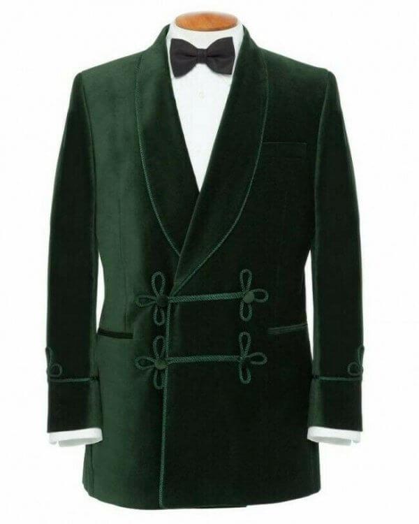 Men Smoking Jacket Green Blazer Coats Elegant Luxury Designer Party Wear Jacket
