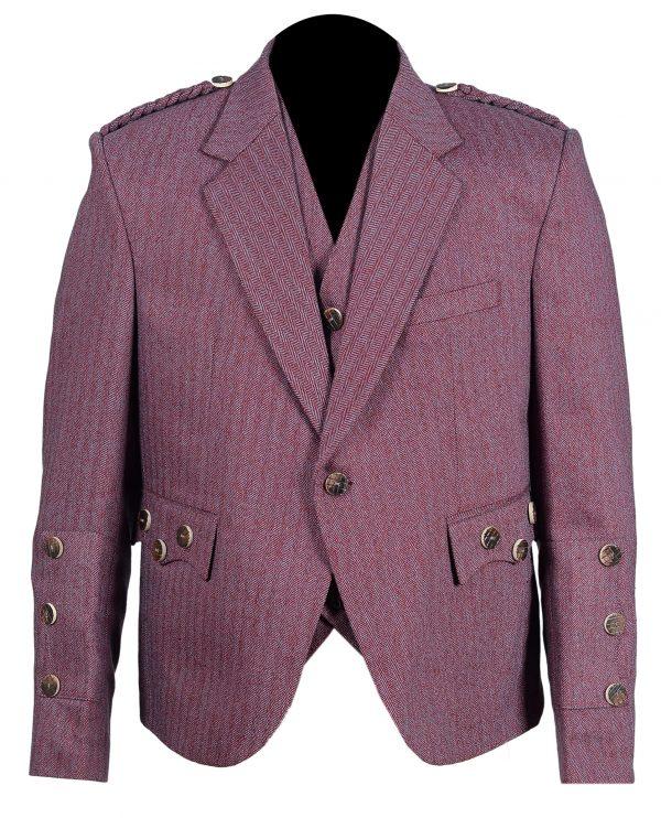 Bright Red/White Herringbone Tweed Braemar/Argyle Scottish Kilt Jacket & Vest