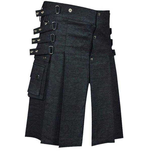 Black Denim Utility Kilt for Men