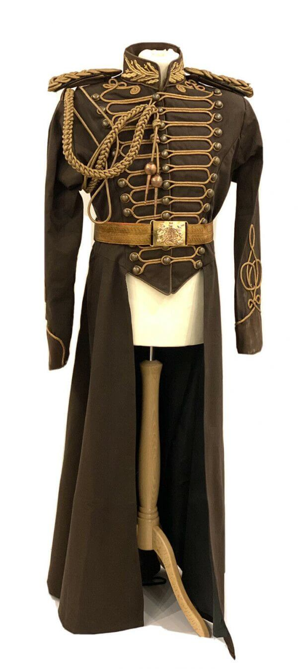 4 Pcs Steampunk Full Length Long Coat With Antique Belt