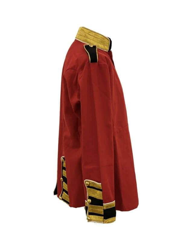 Military Steampunk Red/Black Jacket With Brass Buttons
