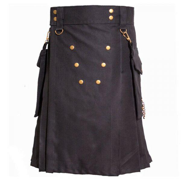 Black Detachable Pockets Kilt Scottish Utility Kilts