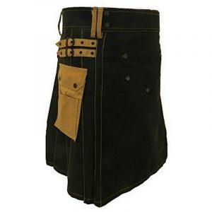 Mens Black Deluxe Scottish Kilt Fashion Utility Kilts