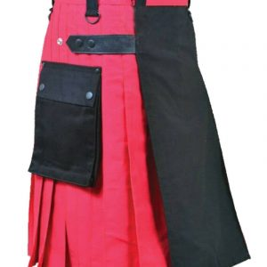 Scottish Red With Front Black Panel Kilt Utility Kilts