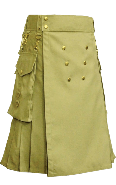UTILITY KILT WITH GOLDEN BUTTONS