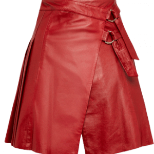 Red Leather Pleated Buckle Kilt Skirt