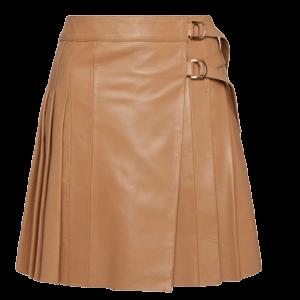 Camel Leather Pleated Buckle Kilt Skirt